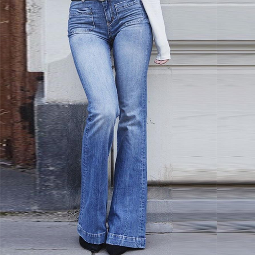 Long  Bootcut  Basic  Plain  Jeans