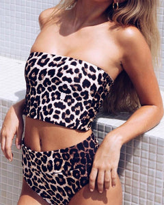 Strapless  Two Way  Leopard Bikini