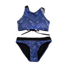 Load image into Gallery viewer, Halter  Asymmetric Stripe Plaid Bikini