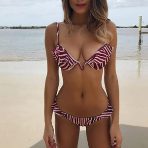V-Shaped Strip Steel Split Split Bikini Sexy Lace Swimsuit