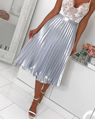 Sexy Pleated Bright Color Skirt