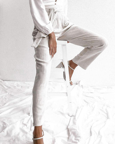Linen Belt High Waist Trousers