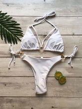 Load image into Gallery viewer, Spaghetti Strap  Lace-Up  Decorative Hardware  Plain Bikini