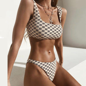 Sexy Bikini Plaid High Waist Split Swimsuit