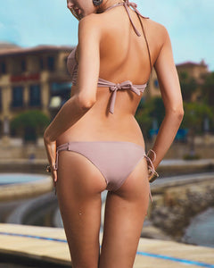 Halter  Backless Drawstring  Plain Bikini