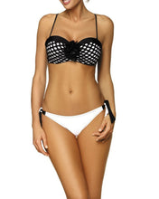 Load image into Gallery viewer, Lace-Up  Color Block Hollow Out Bikini