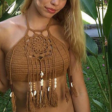 Load image into Gallery viewer, Spaghetti Strap  Fringe  Crochet  Plain Bikini