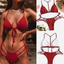 Load image into Gallery viewer, Backless Drawstring Lace-Up  Plain Bikini