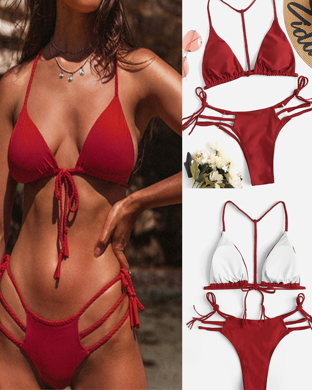 Backless Drawstring Lace-Up  Plain Bikini