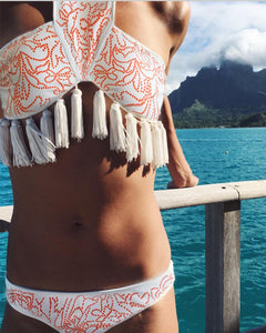 Halter  Backless Tassel  Printed Bikini