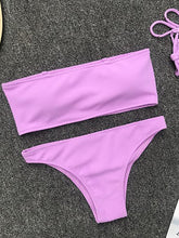 Load image into Gallery viewer, Strapless  Cutout Patchwork  Plain Bikini