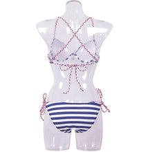 Load image into Gallery viewer, Halter  Backless Lace-Up  Striped Bikini