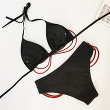 Load image into Gallery viewer, Halter  Backless  Chain  Plain Bikini