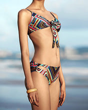 Load image into Gallery viewer, Spaghetti Strap  Lace-Up  Printed Bikini