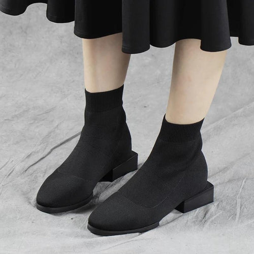 Women's Stretch Fabric Solid Color Boots
