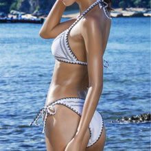 Load image into Gallery viewer, Spaghetti Strap  Contrast Trim  Color Block Geometric Bikini