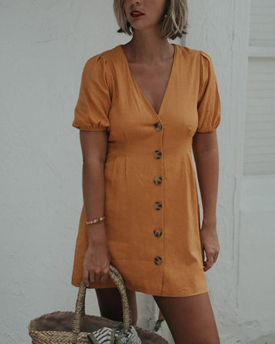 V-Neck Buttoned Puff Sleeve Dress