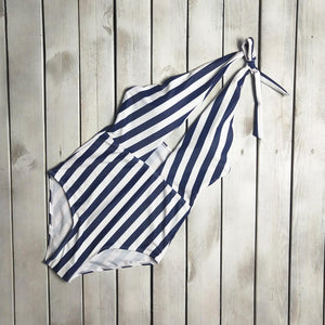 Halter  Backless  Striped One Piece