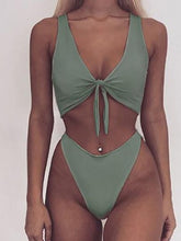 Load image into Gallery viewer, V-Neck  Bowknot Cutout  Plain Bikini