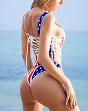 Load image into Gallery viewer, Explosive American Flag Digital Print Strap Sexy Bikini