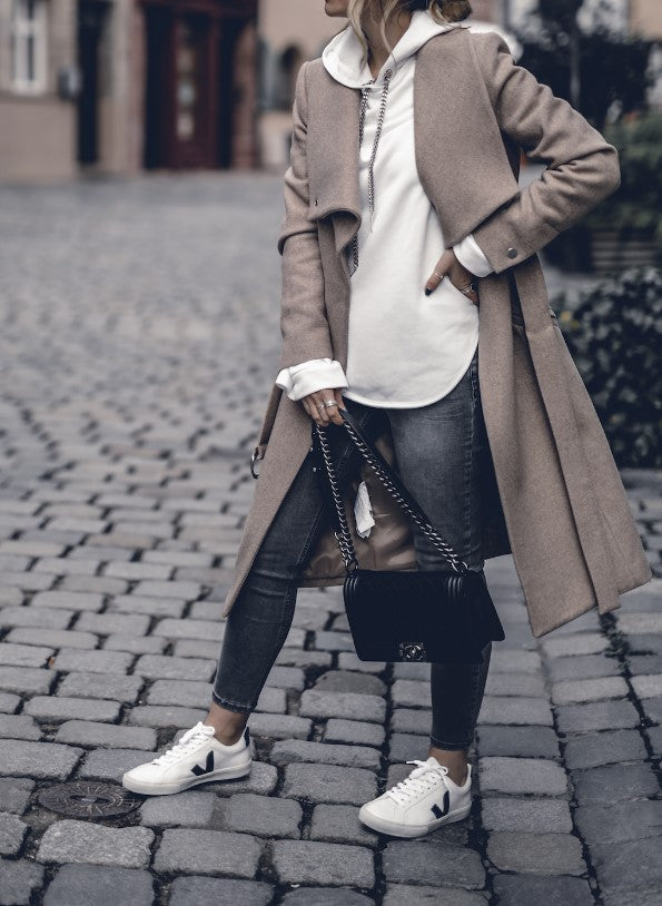 Fashion Solid Colour Long Sleeve Overcoat