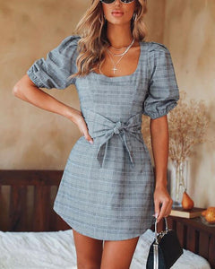 Puff Sleeve Plaid Banded Dress