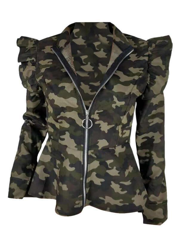 Frilled Camo Jacket
