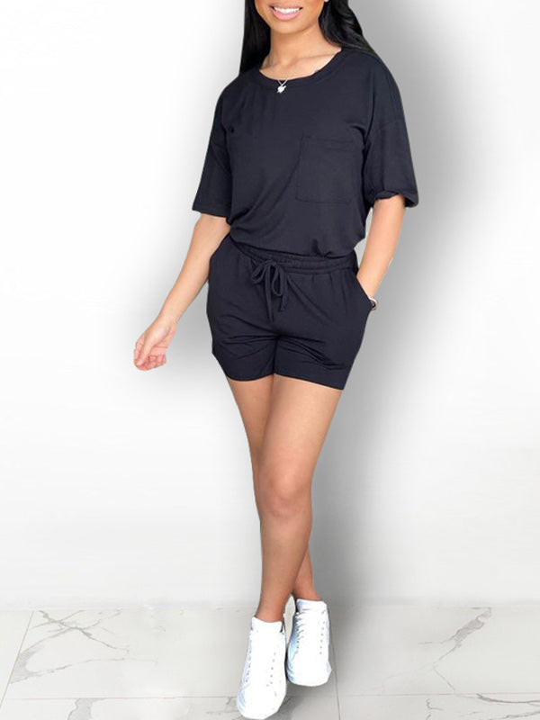 Solid Pocket Tee & Drawstring Shorts Set