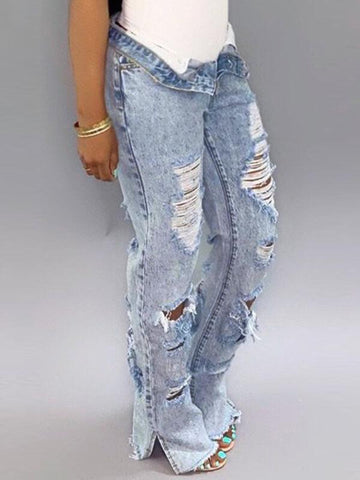 Distressed Slit Denim Shorts