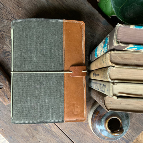Deep Olive Canvas Cedar Journal