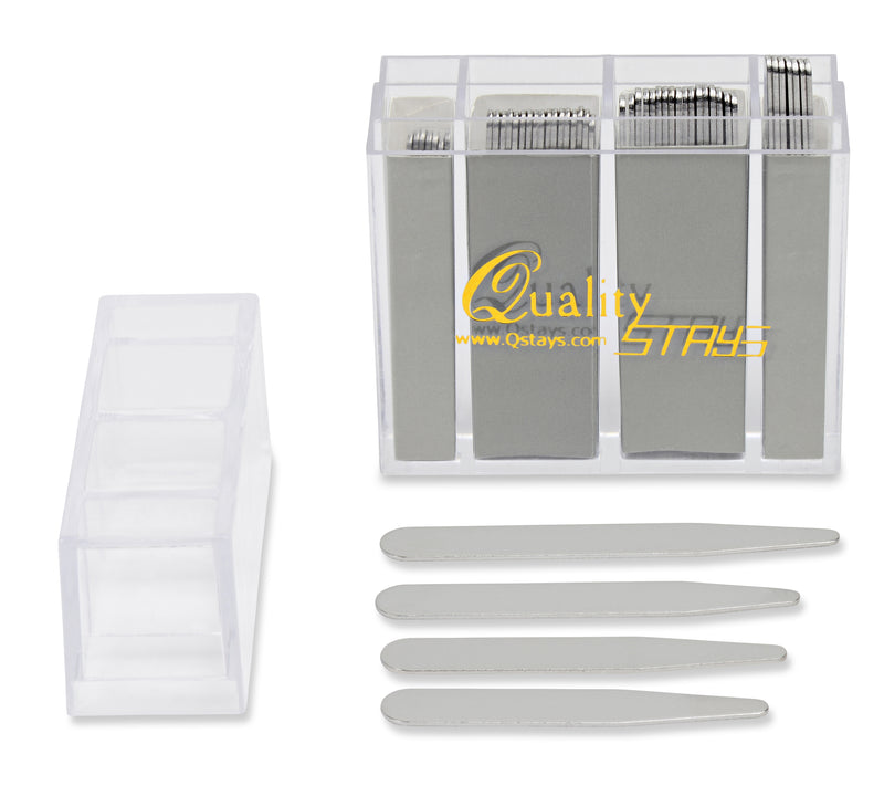 52 Top Quality Metal Collar Stays (Mixed Sizes) in a Divided Box