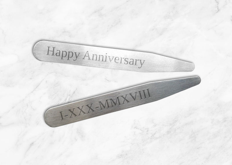 "Happy Anniversary - Personalized Collar Stays in a Beautiful Glass Tube (2.5""; Choice of Matte or Polished)"