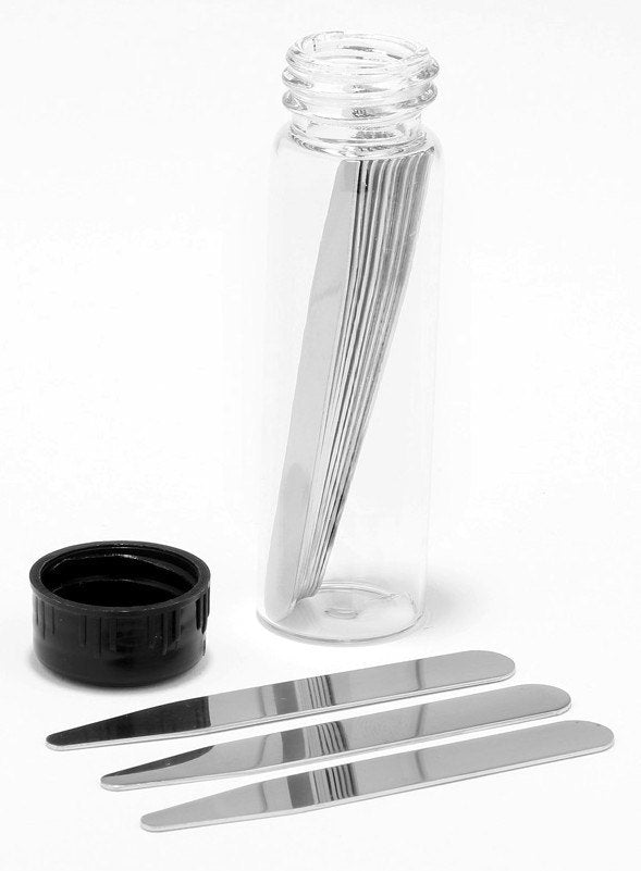 "2 Sets Custom Engraved Stainless Steel Collar Stays in a Glass Tube (2.5"" & 2.75""; Matte)"