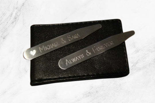 "Personalized Collar Stays in a Beautiful Collar Stay Case (2.5"", Matte)"