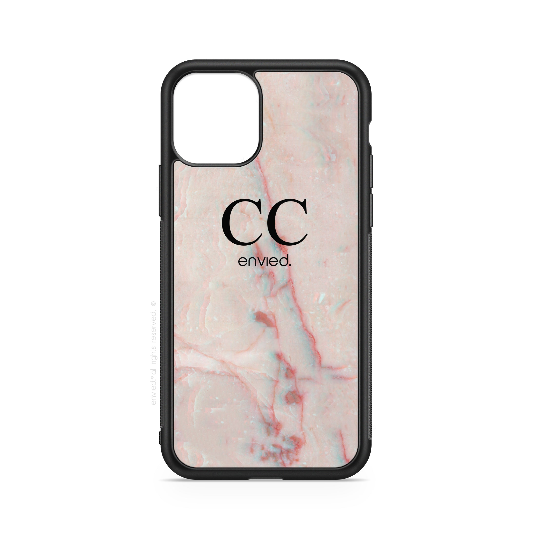 envied. high noble initials on pink marble