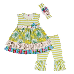 Rose and Celery Dress with Leggings