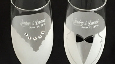 Engraving of champagne flutes and champagne glasses