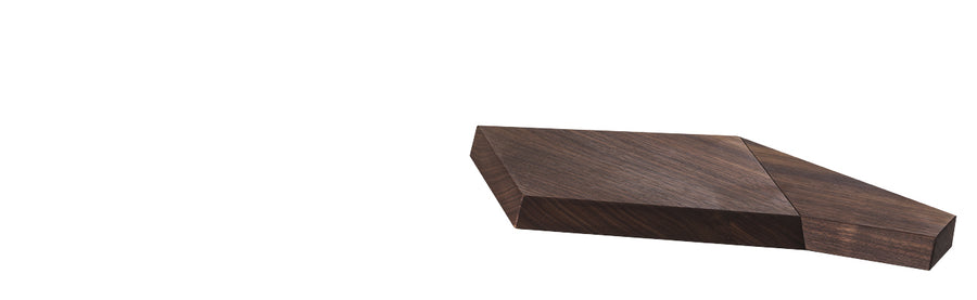 Design by Pierangelo Brandolisio, the Due Cigni Tagliere Vela Cutting Board, 2C T3018/N is Walnut wood with a Natural Acrylic Stone Base. Beautifully made for entertaining.