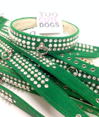 Pearl & Crystal Velvet Collar Green
