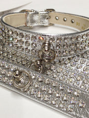 Metallic Silver Crystal Collar