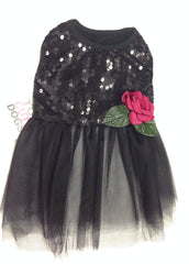 Sequin Black Evening  Rose Tulle Dress Monkeydaze