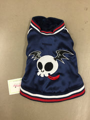 Peppermint Blue Satin Bomber With Skull in Navy