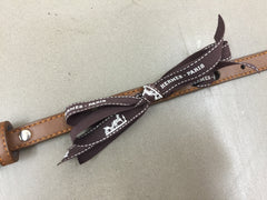 Customizable Leather Collar With Hermes Ribbon in Brown