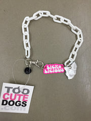 Chi Wow Wow Necklace Collar in White Plastic Lickolicious Mirror Chi