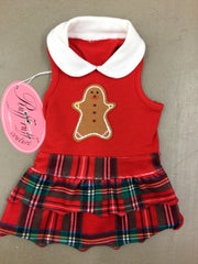 Gingerbread Red Plaid Dress Ruff Ruff Couture Small with bow.