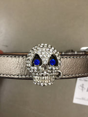 Bowhaus NYC Dog Collar Crystal Skull Sapphire Eyes