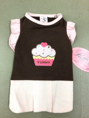 Pink Yummy Cupcake Dress Ruff Ruff Couture Small with Matching Bow