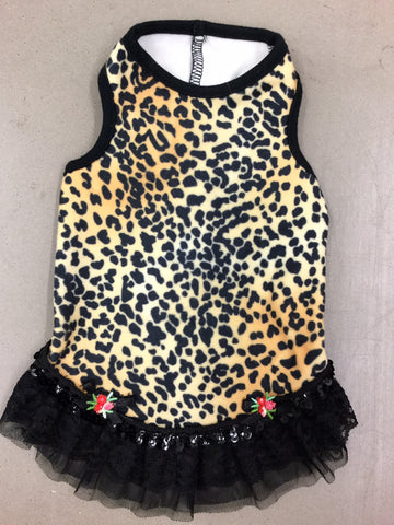 Velvet Leopard Lace Trim Dress Ruff Ruff Couture Small