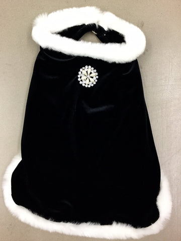 Black Velvet Cape With Fur Trim and Brooch by I See Spot