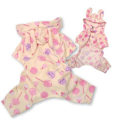 Candy Pattern Bunny Ears Fleece Pajamas